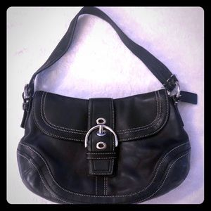 Classic Black Leather Coach Handbag